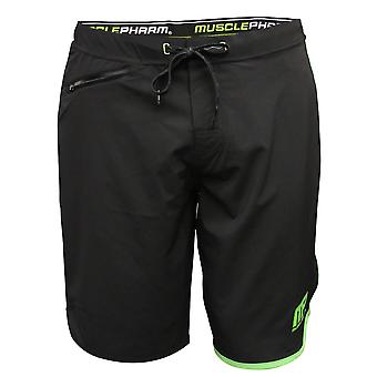 MusclePharm Mens MP Virus Airflex Active Shorts - Black/Green - mma fitness