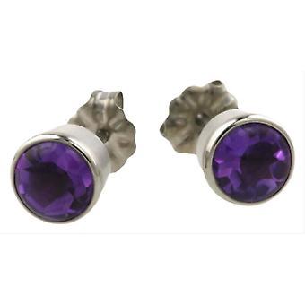 Ti2 Titanium Large Gem Stone Stud Earrings - Silver