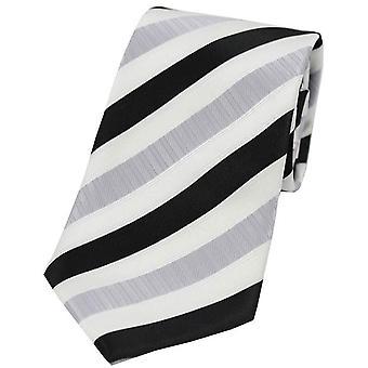 David Van Hagen rayas corbata poliéster - plata/negro