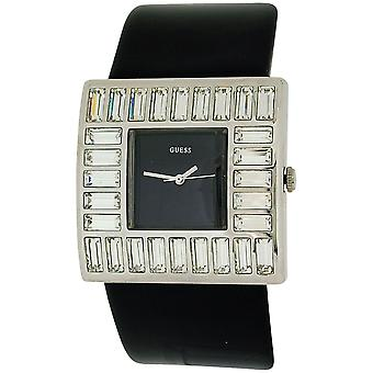 Guess Ladies Martini Baguette Crystal Black Dial Patent Leather  Watch W11524L5