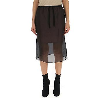 Semi-couture Black Silk Skirt