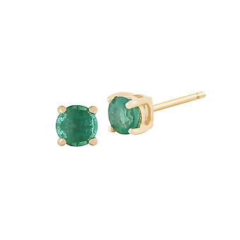 Gemondo Emerald Round Stud Earrings In 9ct Yellow Gold 3.50mm Claw Set