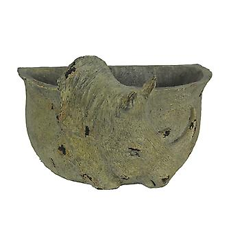 Grey Stone Finish Carved Rhinoceros Head Hanging Planter