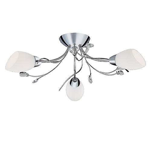 Searchlight 1763-3CC Gardenia Modern Semi Flush Light With White Glass Shades