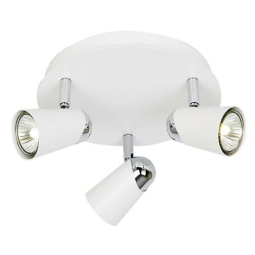 Saxby EL-10083 Civic Triple 50W Modern Spotlights In Matt white paint & chrome effect plate