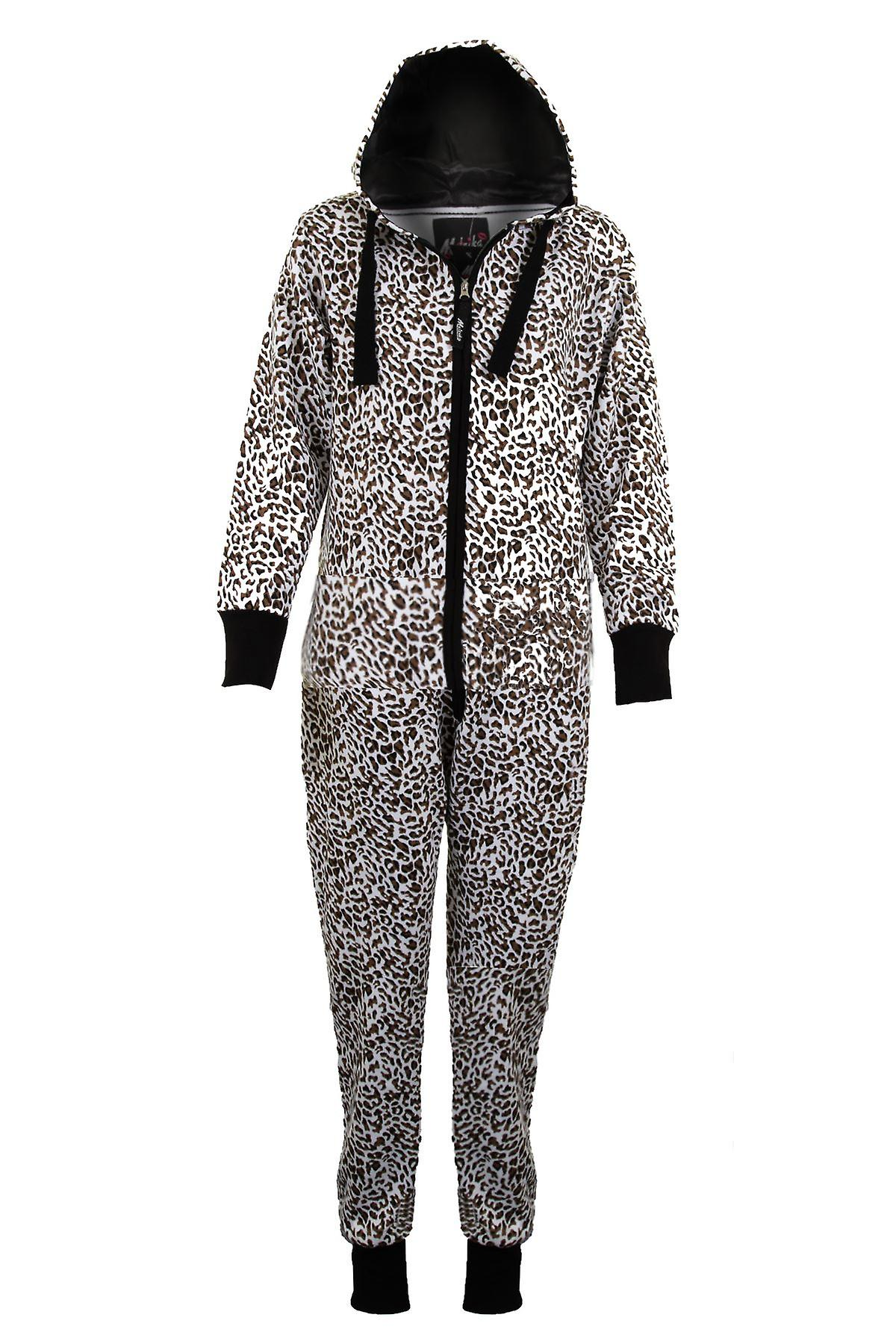 Ladies Hooded American Stars & Stripes Leopard Print Women's Jumpsuit All In One