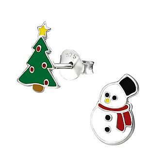 Christmas Tree and Snowman Sterling Silver Stud Earrings