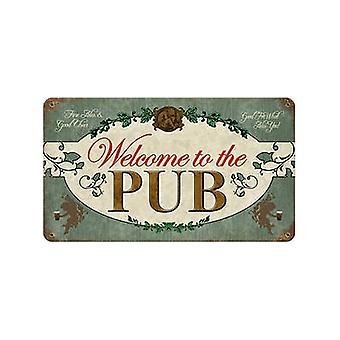 Välkommen till Pub rostiga metall skylt 360 X 205 Mm