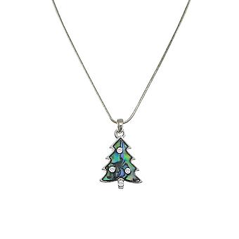 Eternal Collection Christmas Tree Paua Shell Silver Tone Pendant Necklace