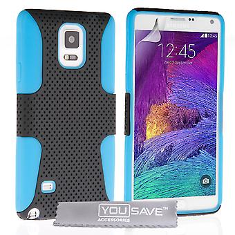 YouSave Samsung Galaxy Note 4 maille robuste Combo Silicone affaire BlueBlack