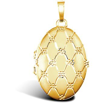 Jewelco London Ladies 9ct gult guld Quilted Daisy oval 4 bild familj medaljong hänge