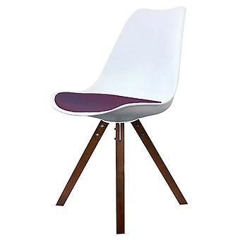 Fusion Living Eiffel Inspired White And Aubergine Purple Plastic Dining Chair With Square Pyramid Dark Wood Legs