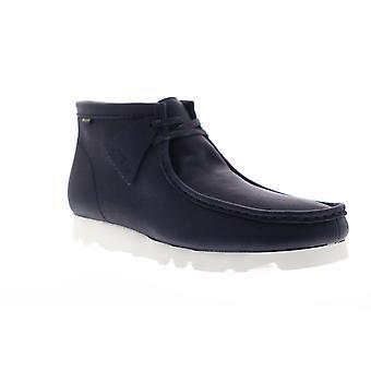 Clarks Wallabee Boot Herren blau Leder Schnürung Casual Slip auf Loafers Schuhe