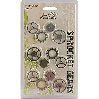 Idea Ology Sprocket Gears 12 Pkg  4Ea Antique Nickel Brass Copper Th92691