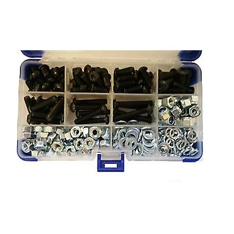 1120Pc Black Socket Button Head Setscrews With Washers and Nuts M3 3MM