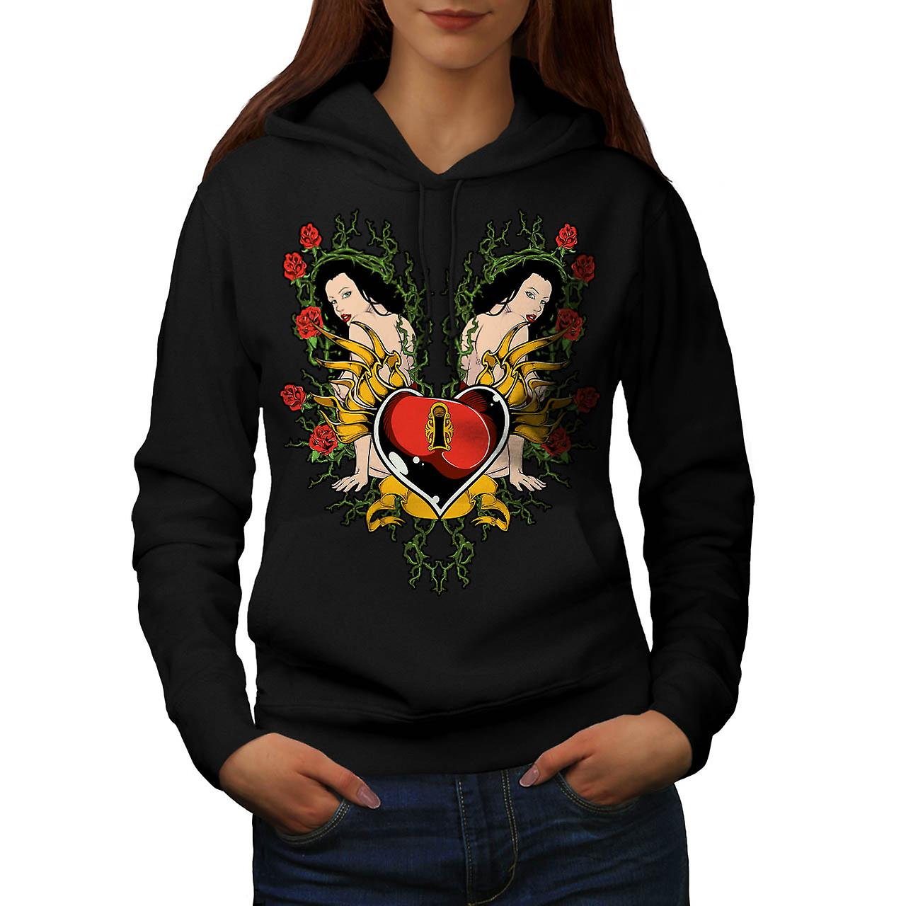 Key To My Heart Love Naked Girl Women Black Hoodie | Wellcoda