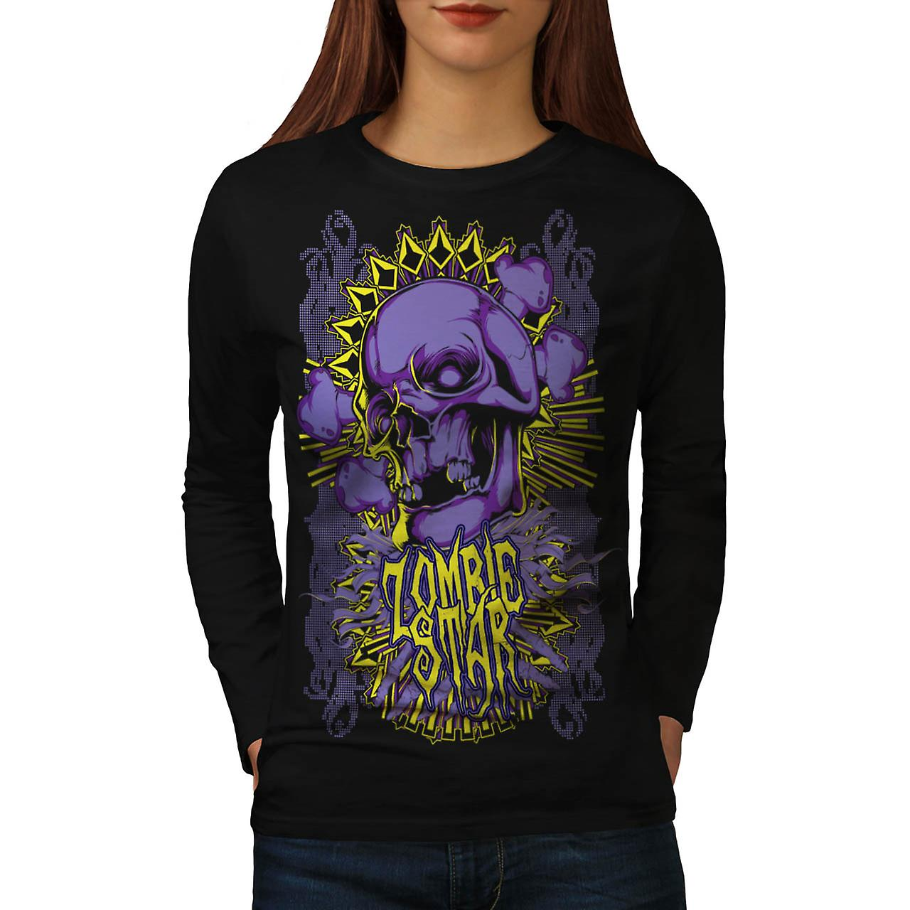 Star Horror Death Zombie Women Black Long Sleeve T-shirt | Wellcoda