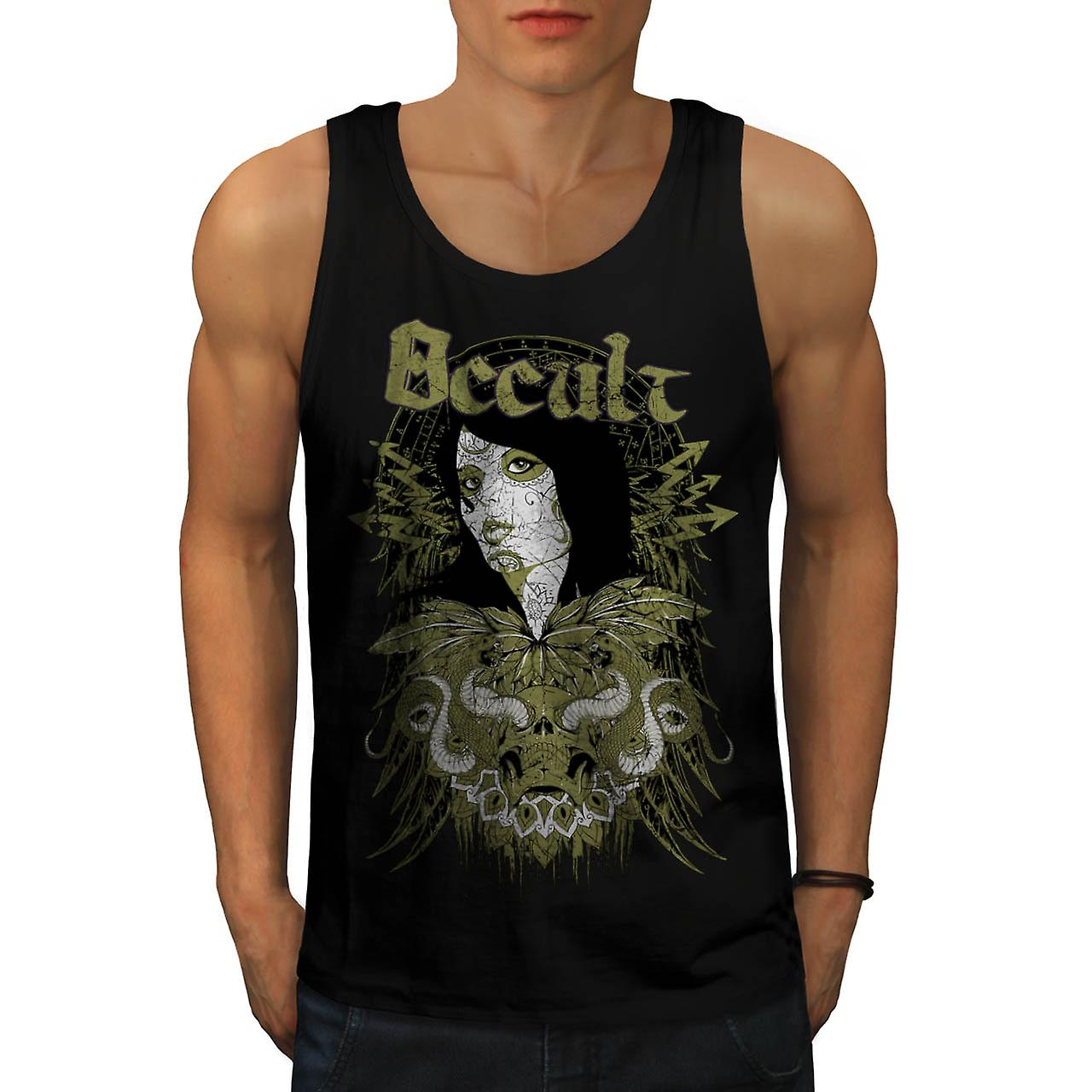 Occult Cult Lady Girl Pout Model Men Black Tank Top | Wellcoda