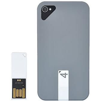 Cover with plastic 4 GB USB drive-iPhone 4/4S (grey)