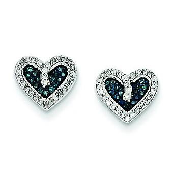 Sterling Silver Gift Boxed Rhodium-plated Blue and White Diamond Heart Post Earrings - .20 dwt
