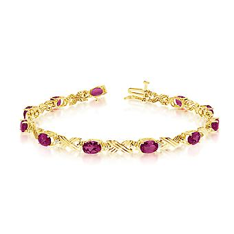 14K Yellow Gold Oval Ruby and Diamond Bracelet