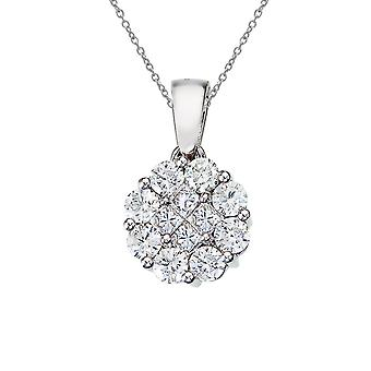 14K White Gold 1 ct Diamond Clustaire Pendant with 18
