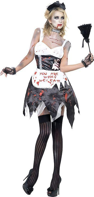 Smiffys Fever Zombie French Maid Womens Costume Fancy Dress Halloween