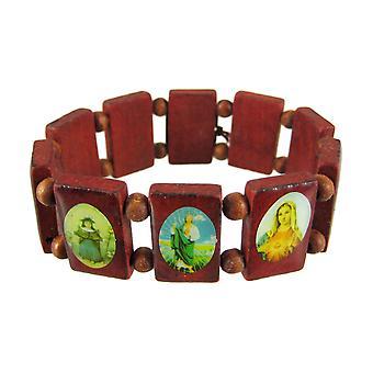 Red Wooden Bead Religious Scene Stretch Bracelet