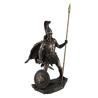 Bronzed Mars Roman God of War Statue with Colored Accents