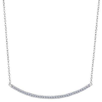 Sterling Silver Square Tube Curve Bar CZ Pendant Necklace, 18