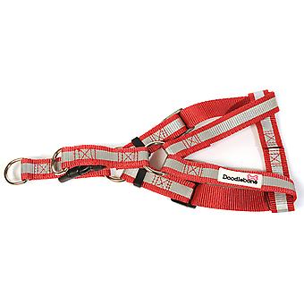 Doodlebone Reflective Bold Tape Harness Red Extra Large