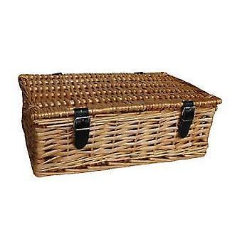 Empty Wicker Rectangular Gift Basket