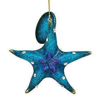 Cape Shore Blue Starfish with Rhinestones Holiday Ornament Resin 3.5 Inch