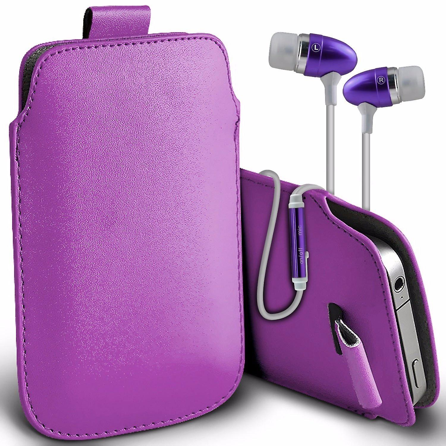 i-Tronixs Premium Stylish Faux Leather Pull Tab Pouch Skin Case Cover with Aluminium Stereo Hands Free Earphone For Ulefone Power 2 (5.5