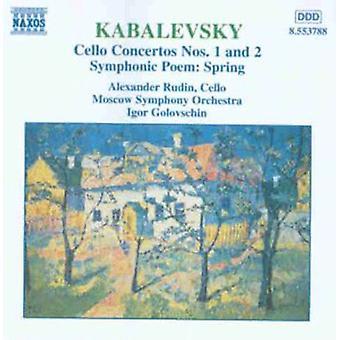 D. Kabalevsky - Kabalevsky: Cello koncerter nr 1 og 2; Symfoniske digt foråret [CD] USA importerer