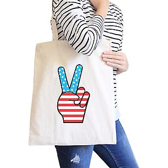 Peace American Flag Design Eco Bag Cute Peace Sign Canvas Tote Bag