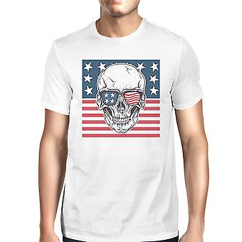 Skull American Flag Shirt Mens White Round Neck Tee Gifts For Dad