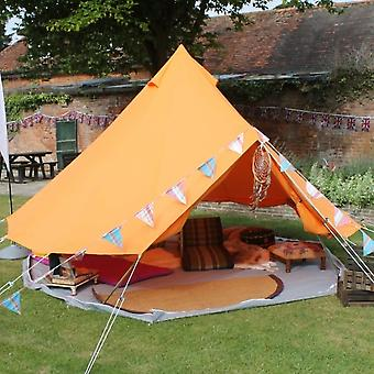 Boutique Camping Tents 4m Tangerine Orange Bell Tent With Zipped In Ground Sheet