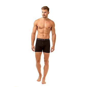 Haigman Mens Two Pack Button Front Cotton Stretch Black Boxer Shorts