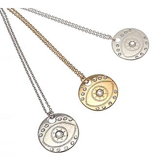 W.A.T Vintage Gold Style Evil Eye Disc Pendant Necklace