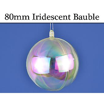 Single 80mm Fillable Two Part Iridescent Plastic Christmas Bauble