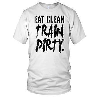 Spise ren tog skitne Fitness Gym trening Bodybuilding Mens T skjorte