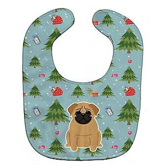 Carolines Treasures  BB4667BIB Christmas Pug Brown Baby Bib