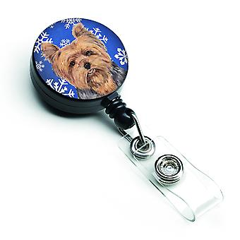 Yorkie Winter Snowflakes Holiday Retractable Badge Reel