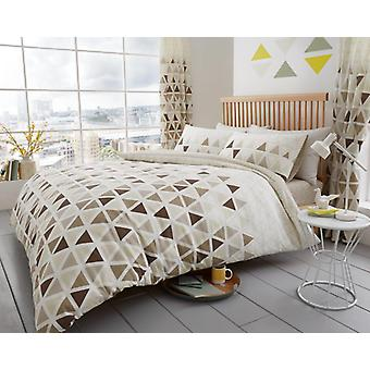 Geo Trangle 4Pc Duvet Cover with fitted sheet Polycotton Printed Bedding Set