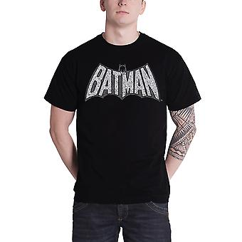 Batman T Shirt Mens Batman Retro Crackle Logo new Official DC Comics Black