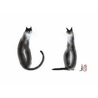 Two Cats Sitting Poster Print by Cheng Yan (28 x 20)