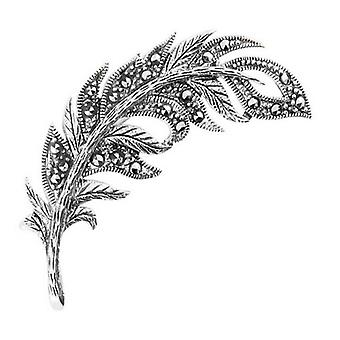 Orton West Decorative Feather Brooch - Silver
