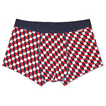 Happy Socks New Filled Optic Boxer Trunk, Navy/White/Red