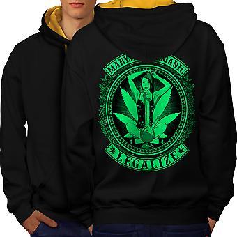Organic Legalize Men Black (Gold Hood)Contrast Hoodie Back | Wellcoda